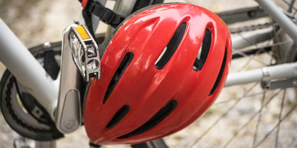 Photo of a red bike helmet